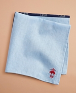 Surf-Print Chambray Pocket Square 썸네일 이미지 1