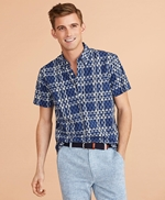 Seahorse-Print Madras Popover Shirt Short-Sleeve 썸네일 이미지 1
