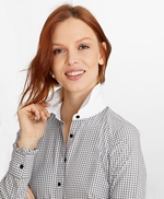 Non-Iron Gingham Supima® Cotton Dobby Contrast-Collar Fitted Shirt 썸네일 이미지 1