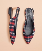 Checked Boucle Point-Toe Sling-Back Flats 썸네일 이미지 1