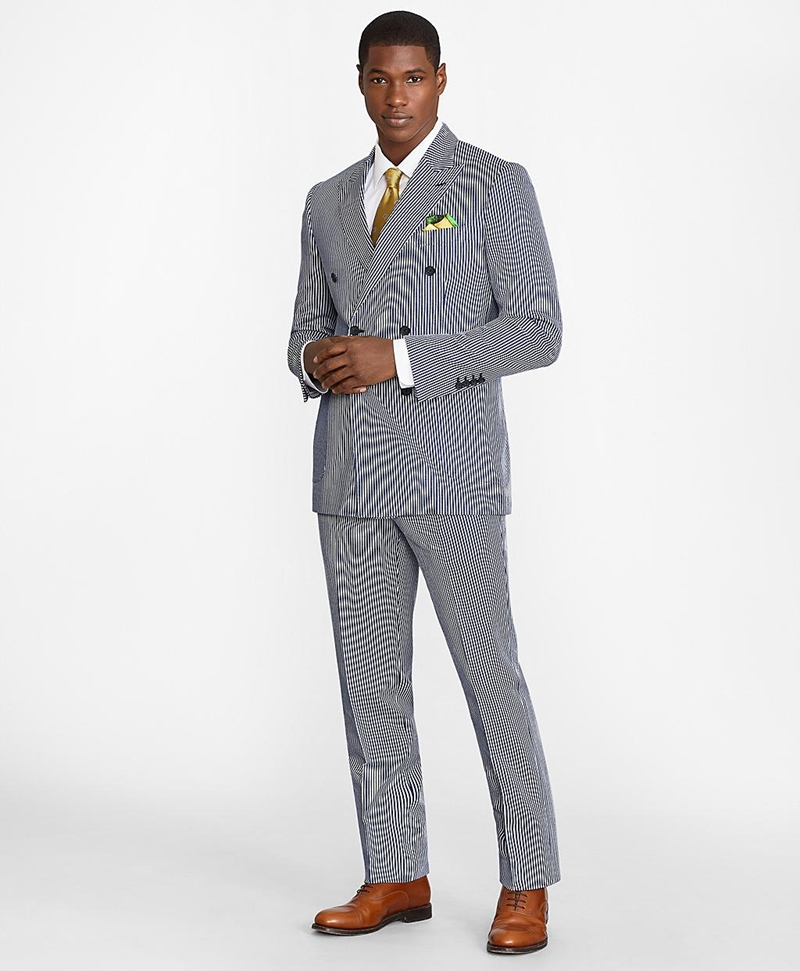 Regent Fit Double-Breasted Stripe 1818 Suit 썸네일 이미지 1