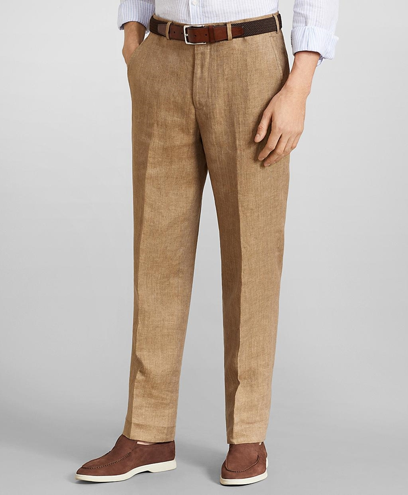 Regent Fit Herringbone Linen Trousers 썸네일 이미지 1