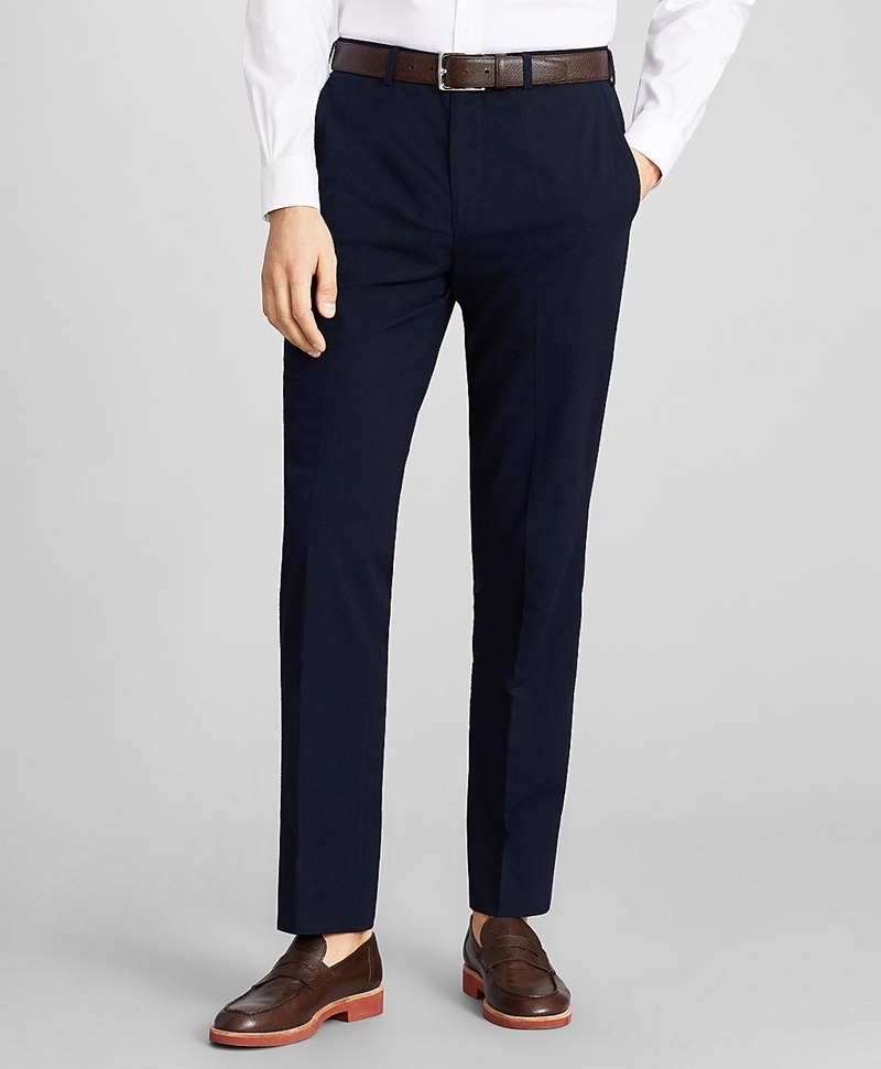 Regent Fit Seersucker Trousers 썸네일 이미지 1