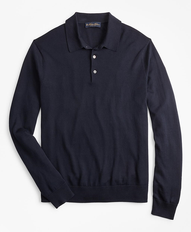 Silk And Cotton Polo Sweater 썸네일 이미지 1