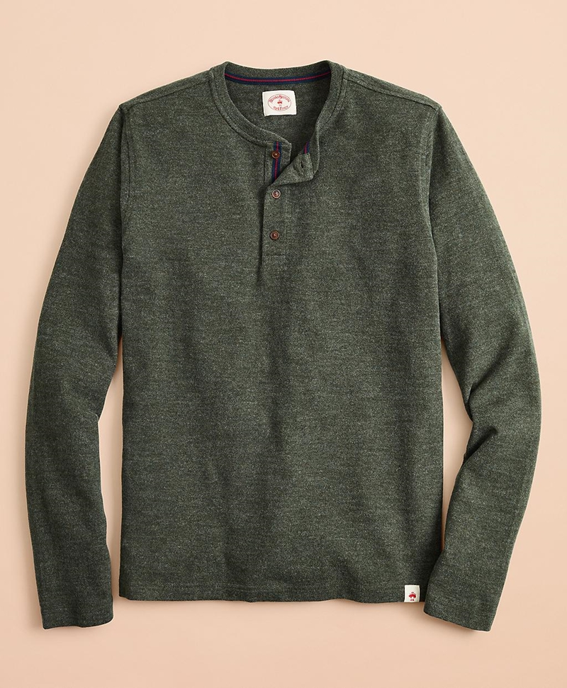 Cotton Jersey Long-Sleeve Henley 썸네일 이미지 1