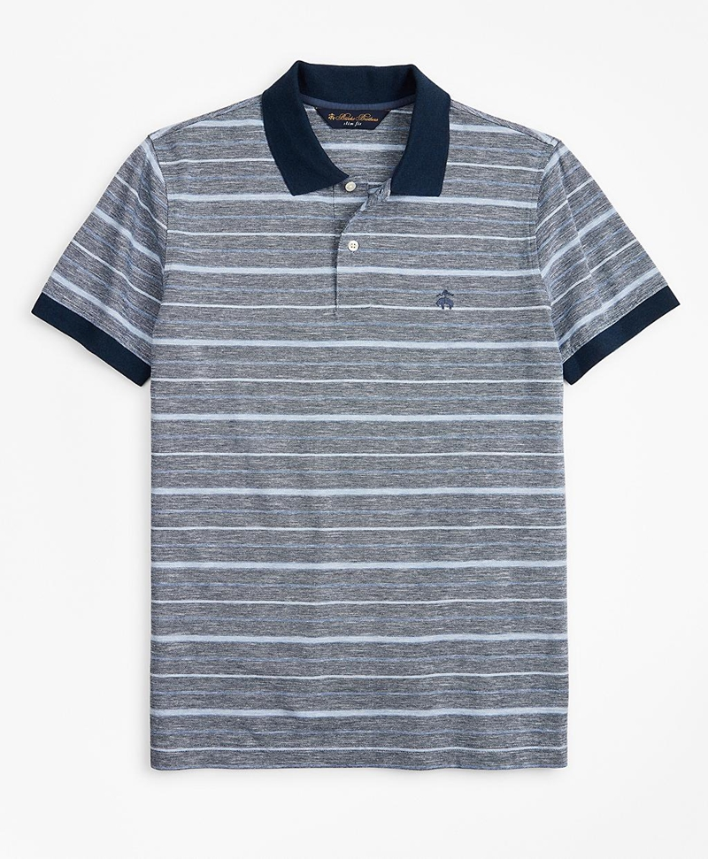 Slim Fit Cotton and Linen Stripe Polo Shirt 썸네일 이미지 1