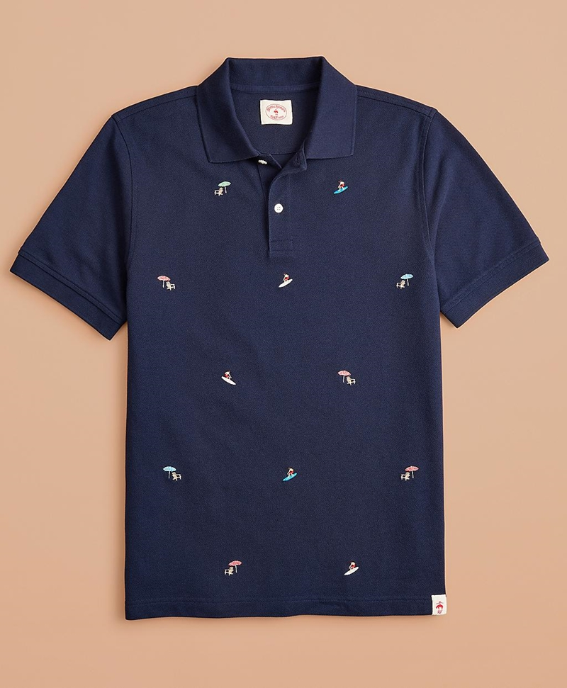Embroidered Surfer Pique Polo 썸네일 이미지 1