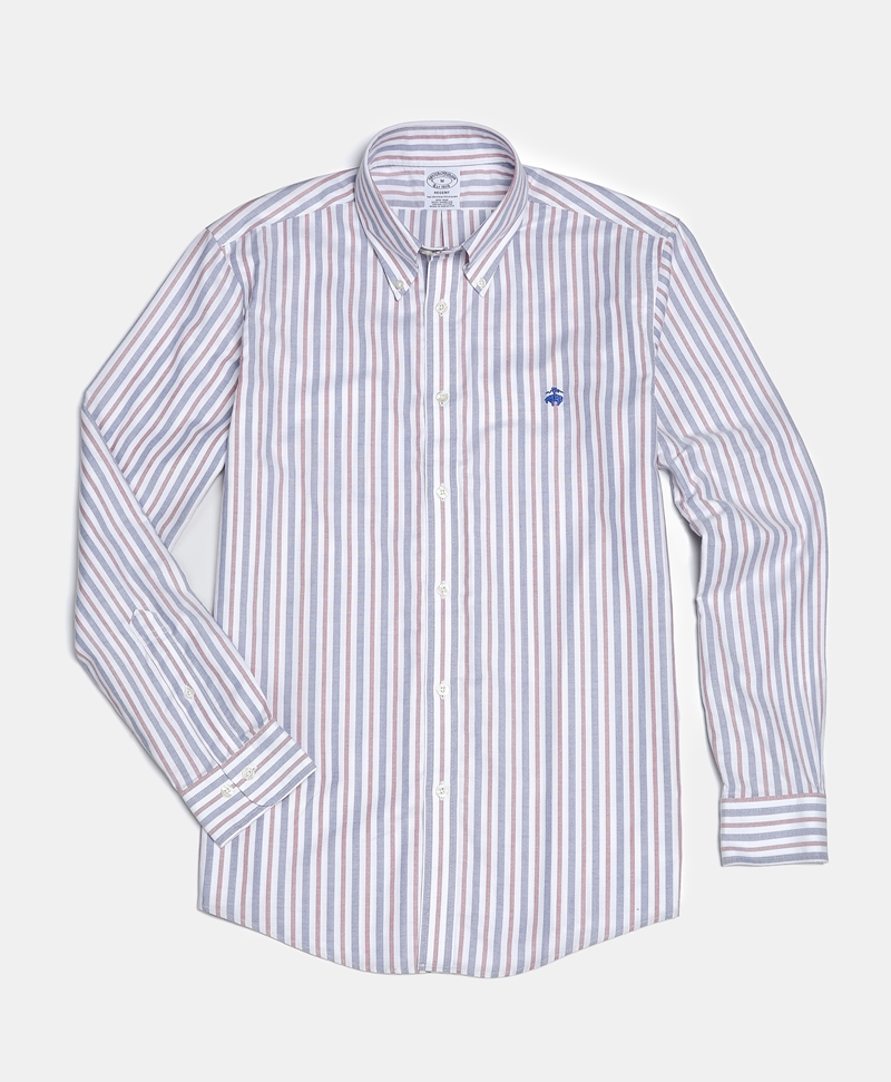 Non-Iron Regent Fit Awning Striped Oxford Sport Shirt 썸네일 이미지 1