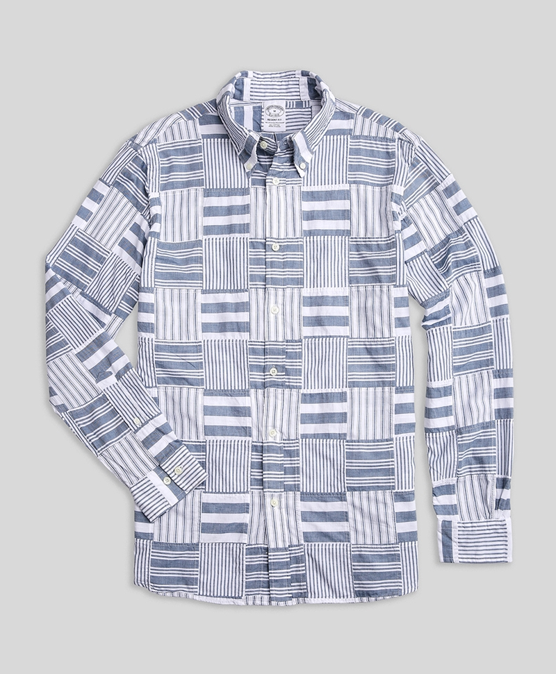 Regent Fit Madras Patchwork Sport Shirts 썸네일 이미지 1