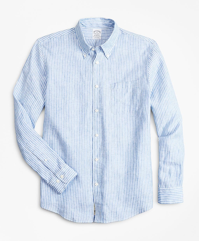 Regent Fitted Sport Shirt, Irish Linen Large Stripe 썸네일 이미지 1