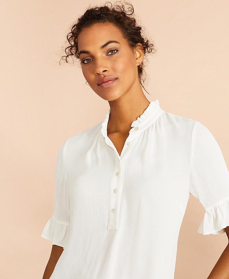 Crepe Ruffled Blouse 썸네일 이미지 1