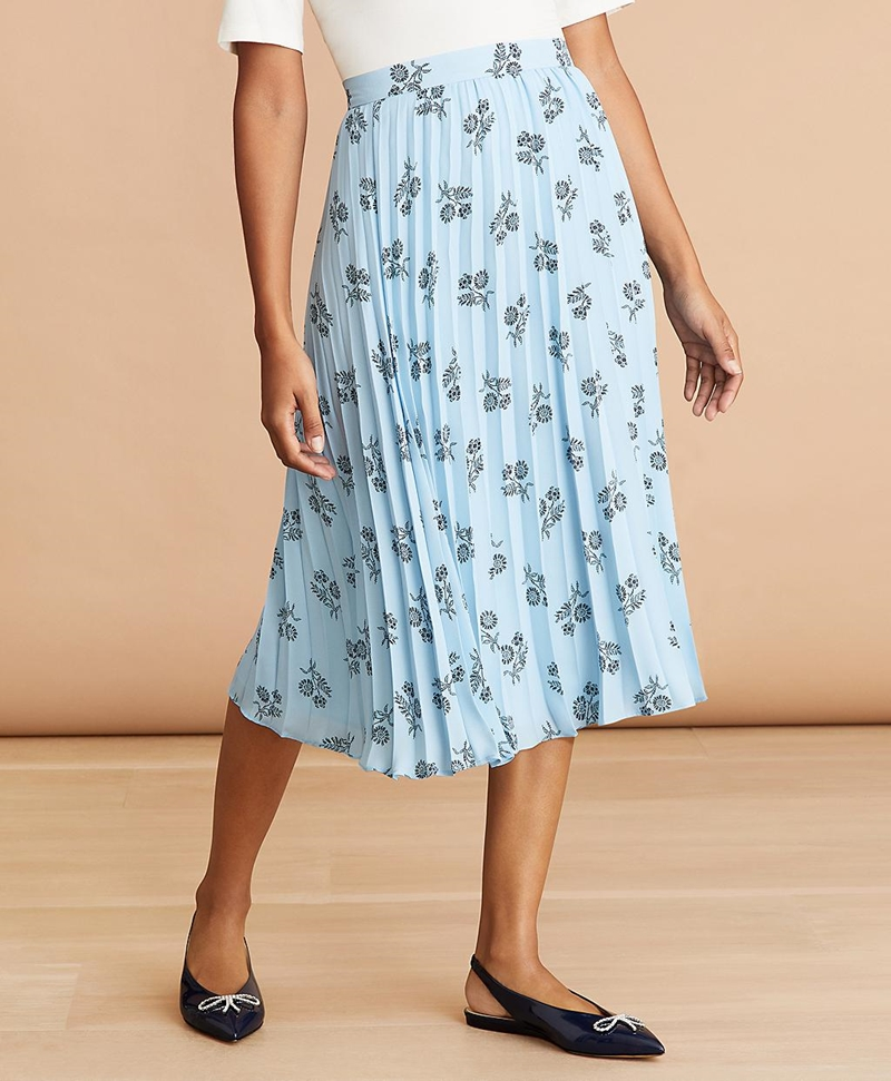 Floral-Print Pleated Skirt 썸네일 이미지 1