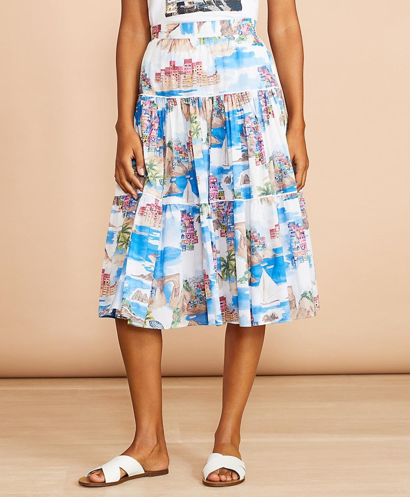 Costal-Print Cotton Midi Skirt 썸네일 이미지 1