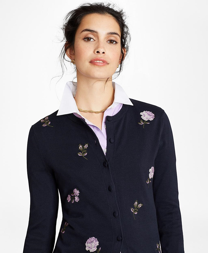 Floral-Embroidered Supima® Cotton Cardigan 썸네일 이미지 1