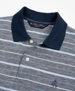 Slim Fit Cotton and Linen Stripe Polo Shirt 썸네일 이미지 2