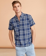 Seahorse-Print Madras Popover Shirt Short-Sleeve 썸네일 이미지 2