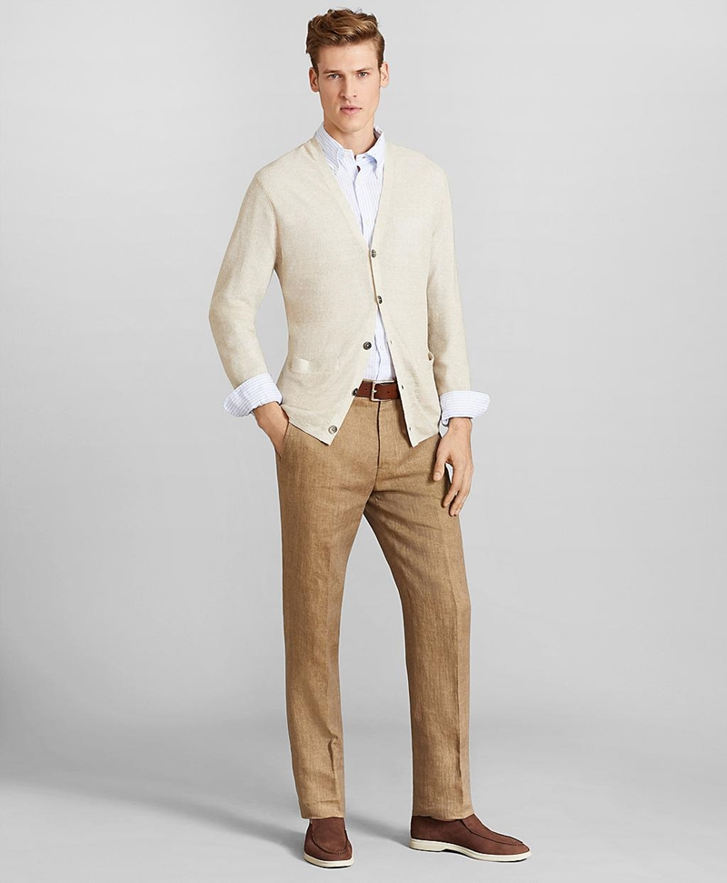 Regent Fit Herringbone Linen Trousers 썸네일 이미지 2