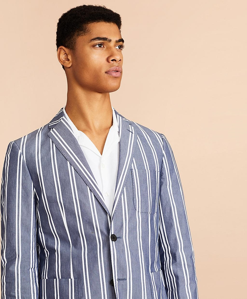 Striped Cotton Chambray Sport Coat 썸네일 이미지 2