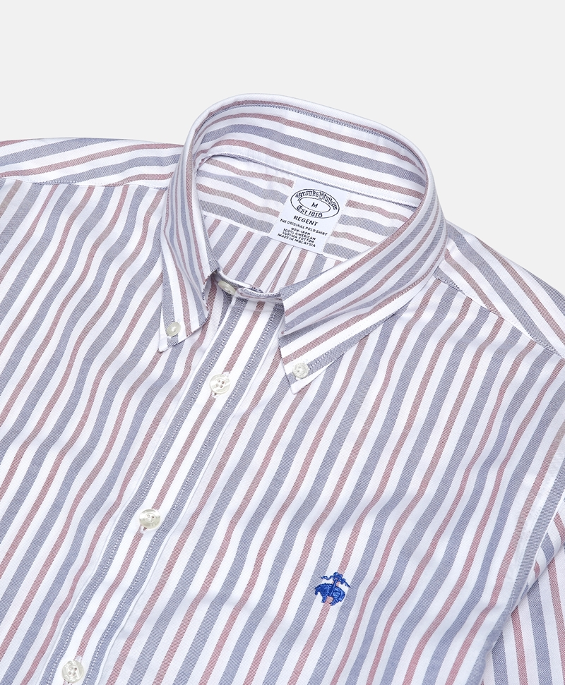 Non-Iron Regent Fit Awning Striped Oxford Sport Shirt 썸네일 이미지 2