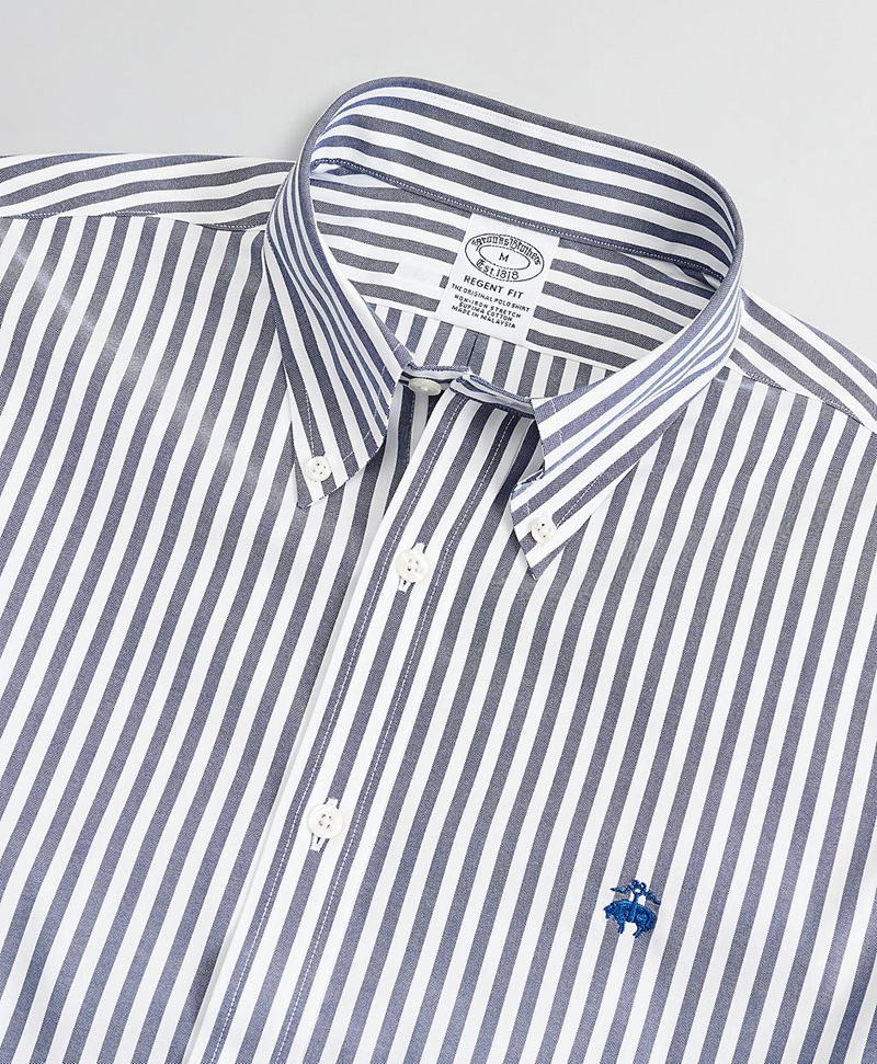 Stretch Regent Fitted Sport Shirt, Non-Iron Stripe 썸네일 이미지 2