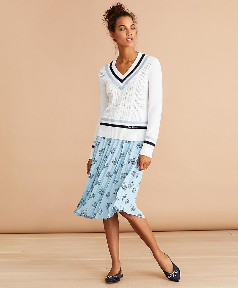 Floral-Print Pleated Skirt 썸네일 이미지 2
