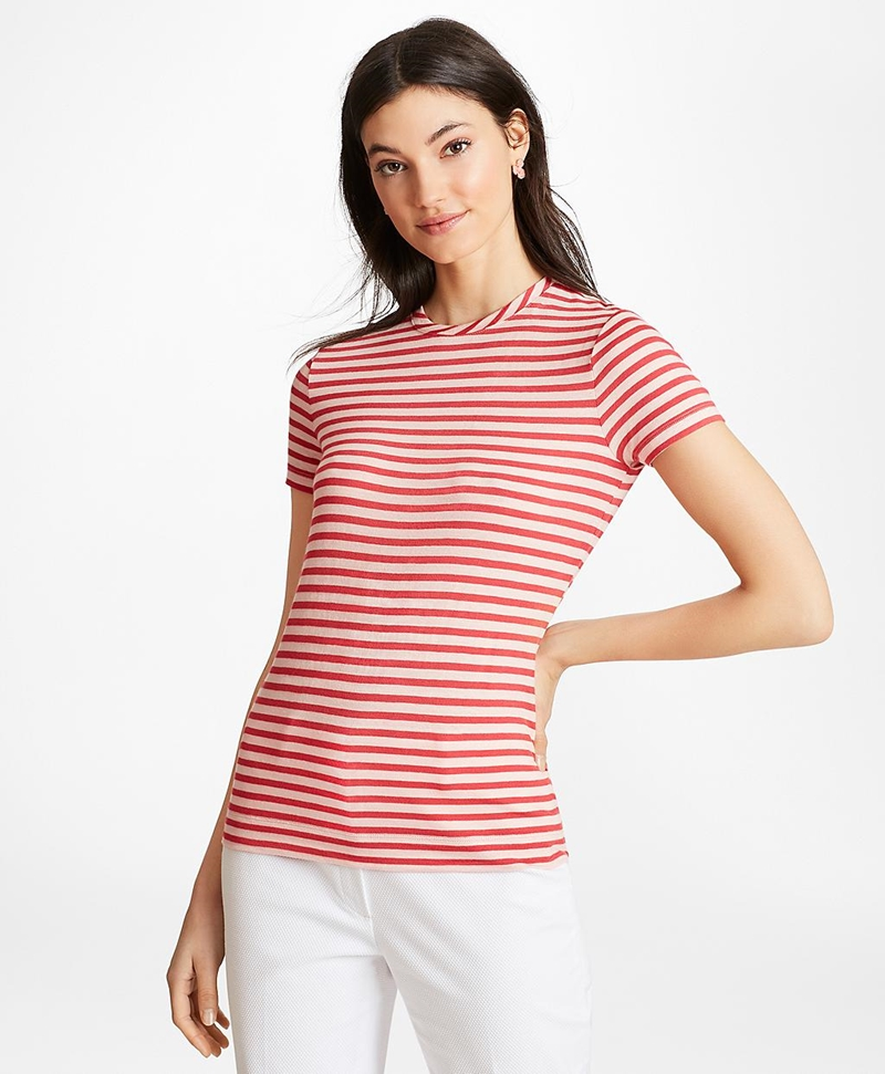 Striped Linen-Blend Jersey T-Shirt 썸네일 이미지 2