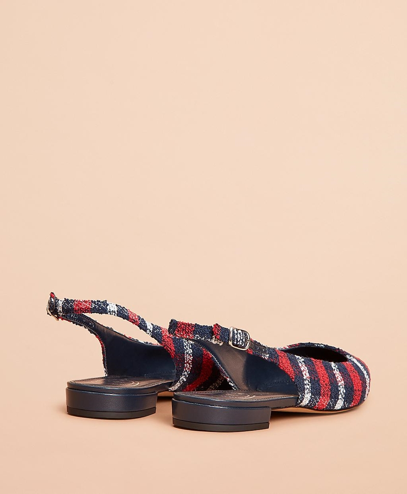 Checked Boucle Point-Toe Sling-Back Flats 썸네일 이미지 2