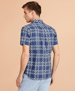 Seahorse-Print Madras Popover Shirt Short-Sleeve 썸네일 이미지 3