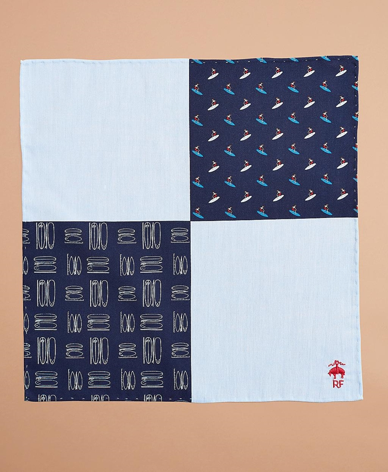 Surf-Print Chambray Pocket Square 썸네일 이미지 3