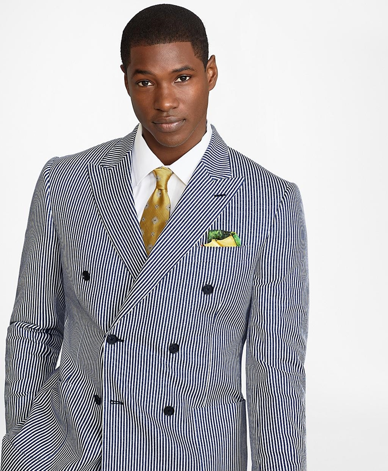 Regent Fit Double-Breasted Stripe 1818 Suit 썸네일 이미지 3