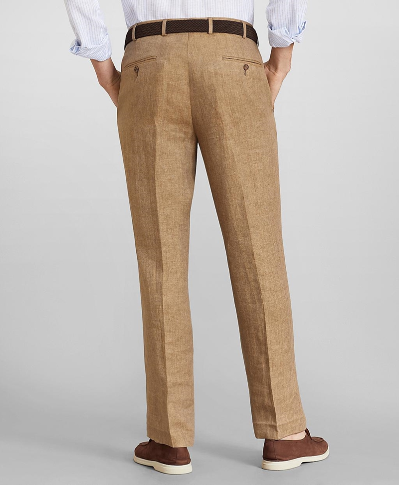 Regent Fit Herringbone Linen Trousers 썸네일 이미지 3