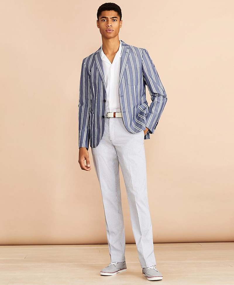 Striped Cotton Chambray Sport Coat 썸네일 이미지 3