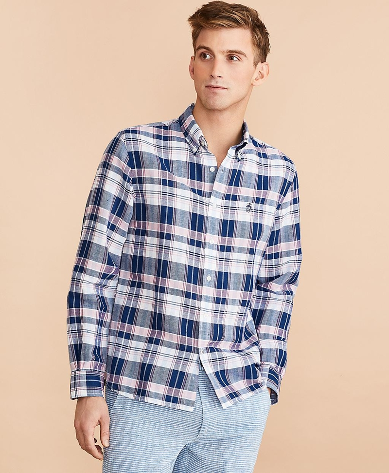 Plaid Linen-Cotton Poplin Shirt 썸네일 이미지 3