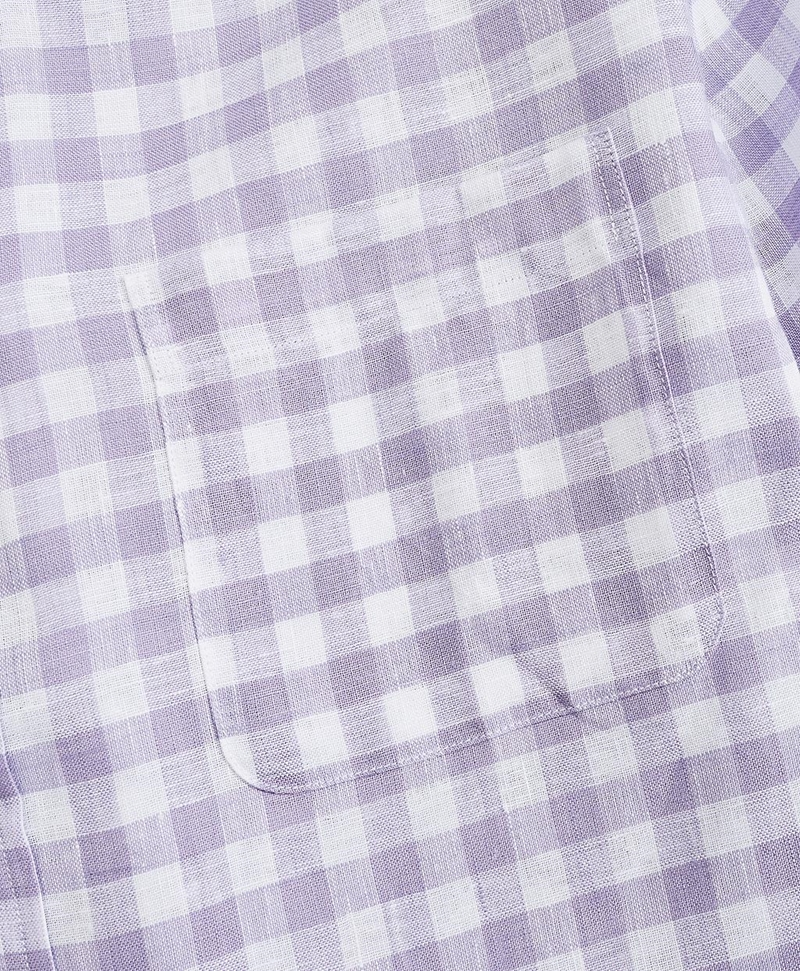 Regent Fitted Sport Shirt, Irish Linen Gingham 썸네일 이미지 3