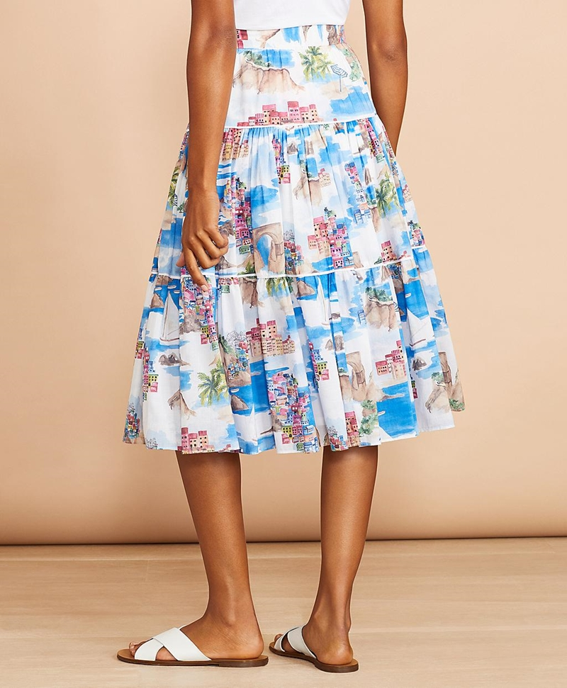 Costal-Print Cotton Midi Skirt 썸네일 이미지 3