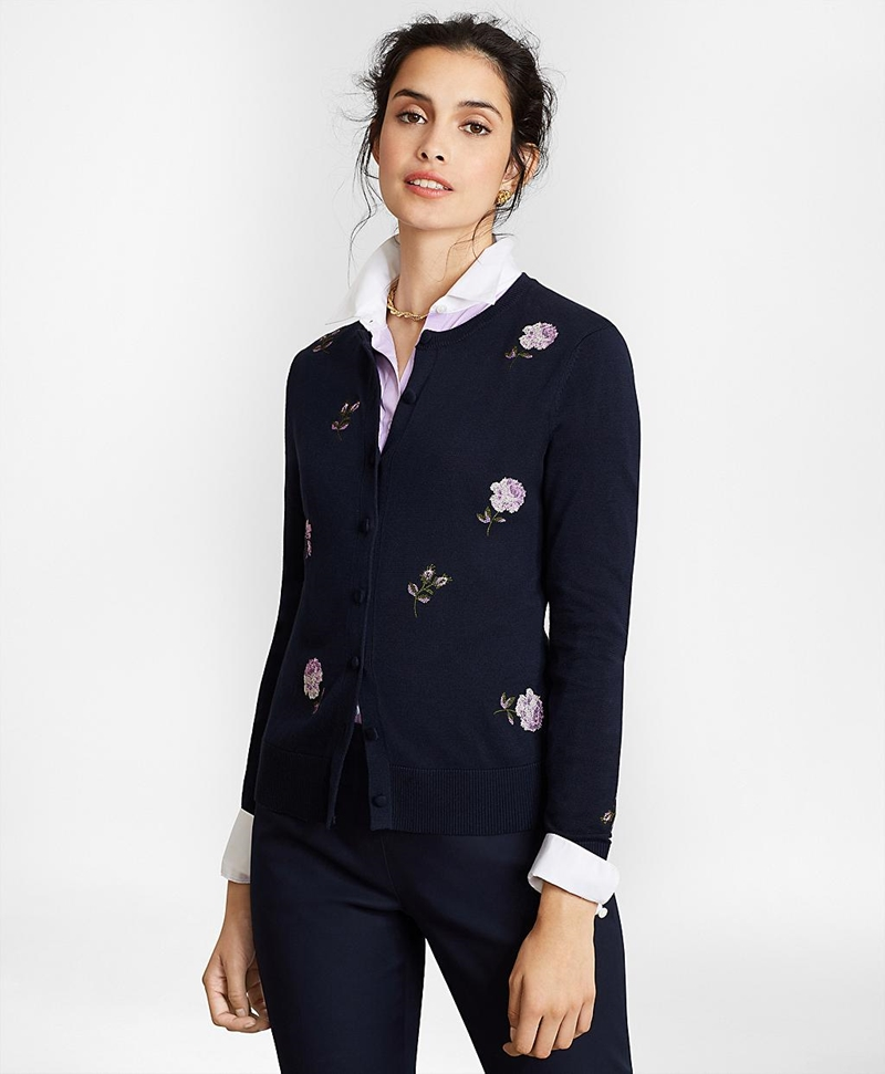 Floral-Embroidered Supima® Cotton Cardigan 썸네일 이미지 3