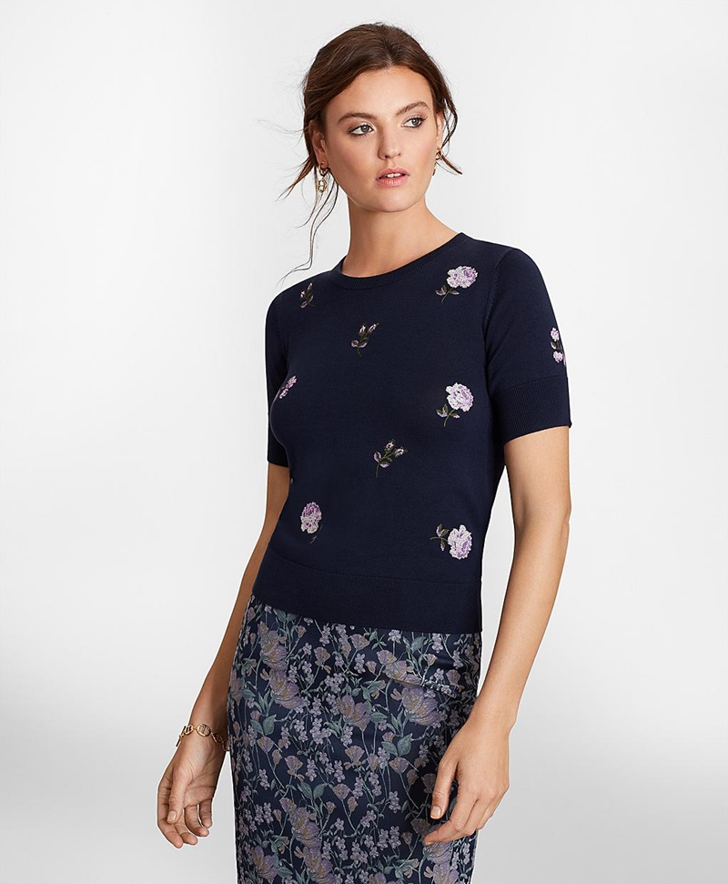 Floral-Embroidered Supima® Cotton Short-Sleeve Shell 썸네일 이미지 3