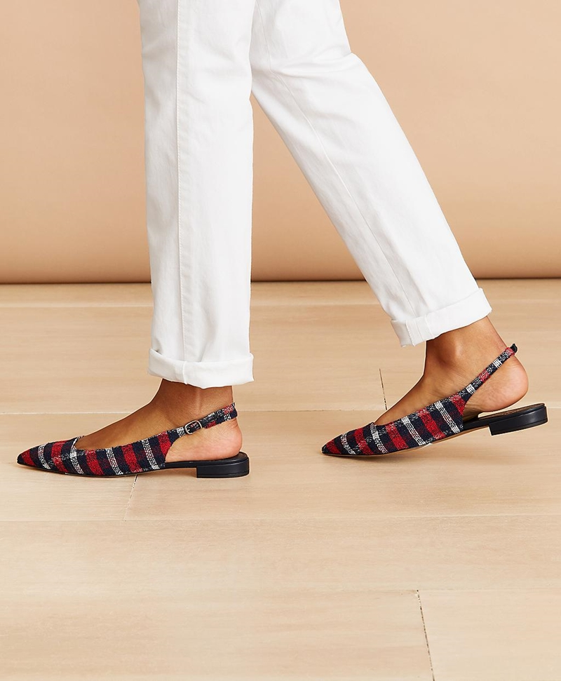 Checked Boucle Point-Toe Sling-Back Flats 썸네일 이미지 3