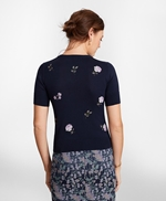 Floral-Embroidered Supima® Cotton Short-Sleeve Shell 썸네일 이미지 4