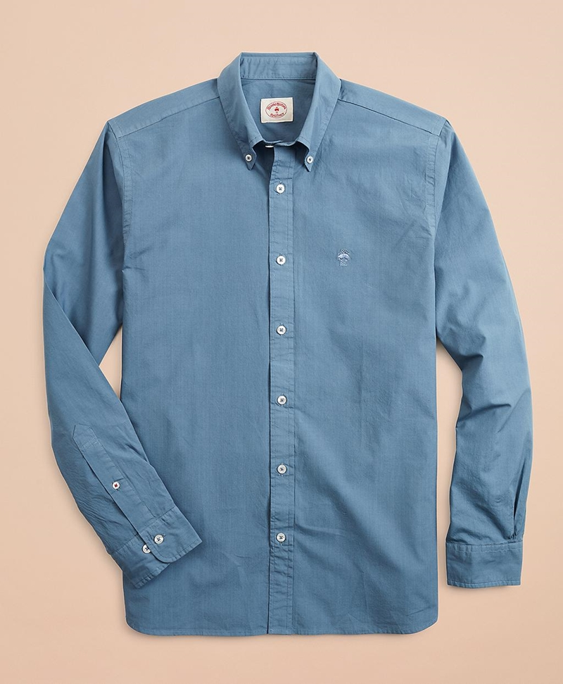 Garment-Dyed Cotton Broadcloth Sport Shirt 썸네일 이미지 4