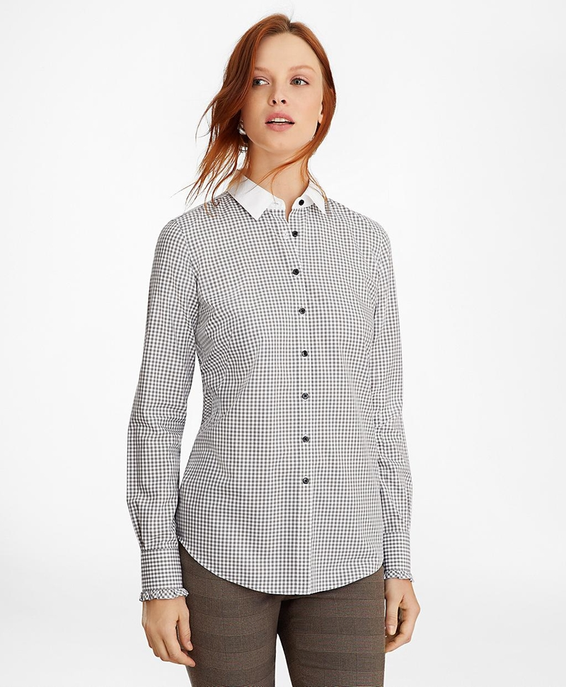 Non-Iron Gingham Supima® Cotton Dobby Contrast-Collar Fitted Shirt 썸네일 이미지 4