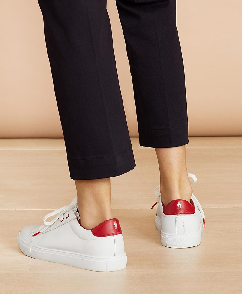 Ruffle-Trim Color-Block Leather Low-Top Sneakers 썸네일 이미지 4