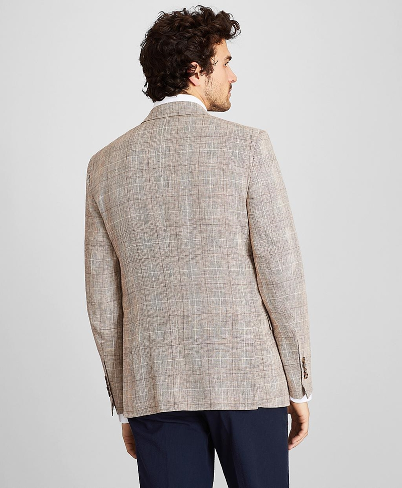 Regent Fit Ticket Pocket 3 Button Linen Check Sport Coat 썸네일 이미지 5