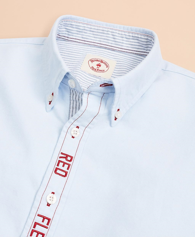 Red Fleece Embroidered Cotton Oxford Shirt 썸네일 이미지 5